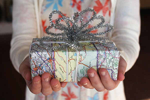 Map-wrapped Christmas gift