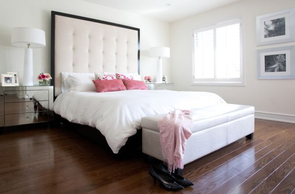 Master bedroom with elaborate tufted headboard