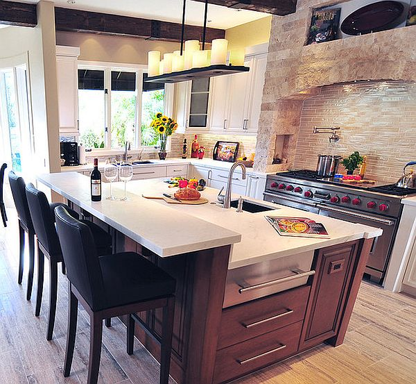 Kitchen Island Design Ideas kitchen island design idea View In Gallery Mediterranean Kitchen Design With Modern Island
