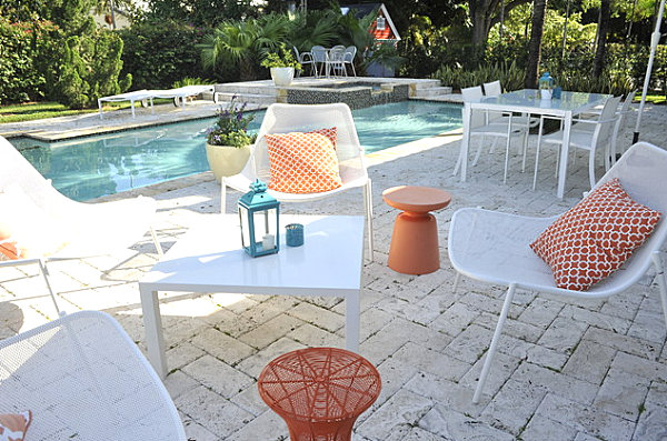 Metal outdoor furniture in white and orange