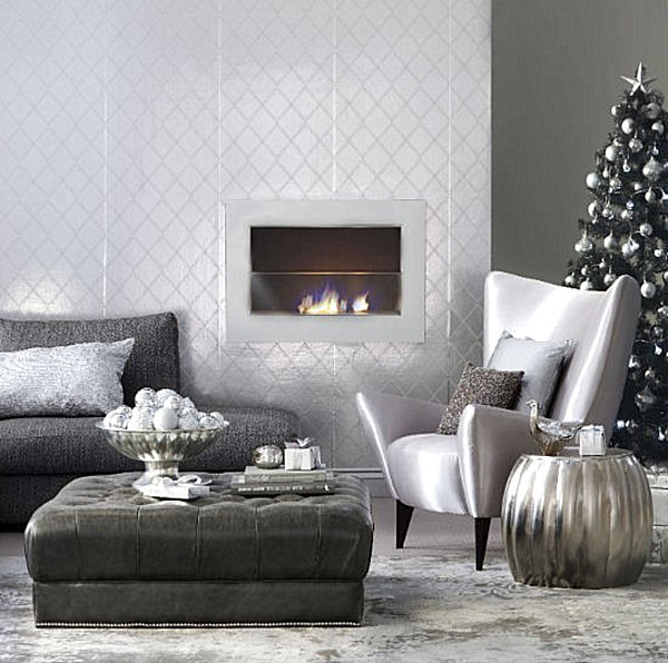 metallic christmas decorations in a modern living room