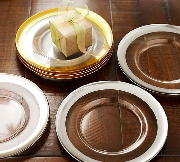 Metallic-edged holiday plates