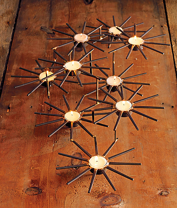 Metallic star candle decor Christmas Table Decorations for Holiday Entertaining