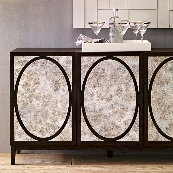 Mirrored buffet with oval detailing
