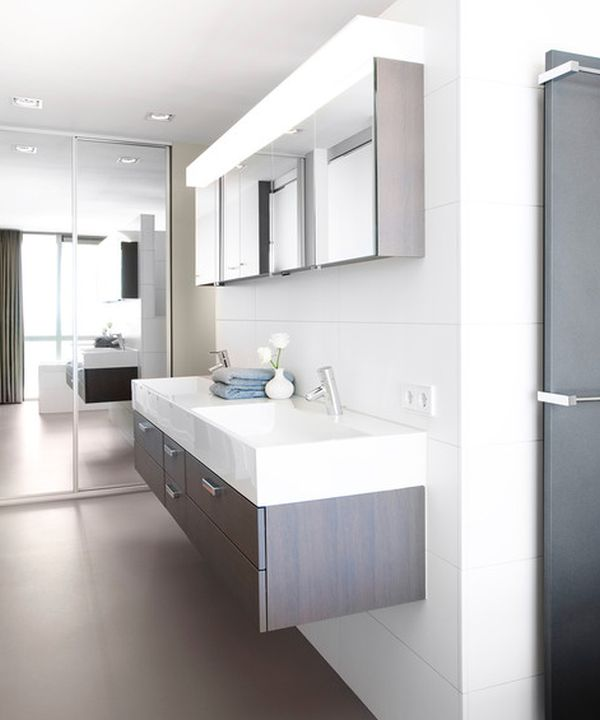 modern bathroom with floating double sink design in white and gray - Modern Bathroom Sink Designs