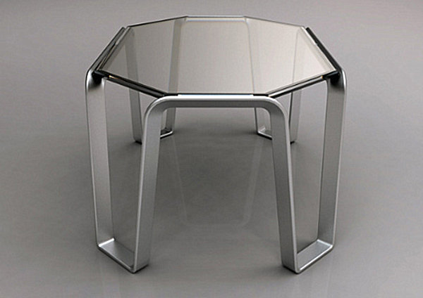 Modern glass and metal table