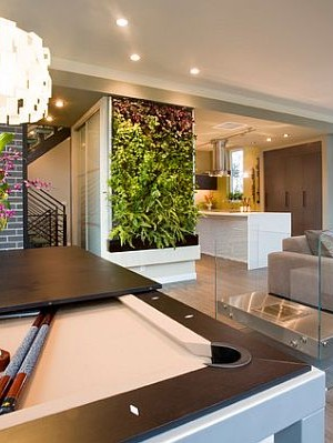 Modern living room with succulent wall art
