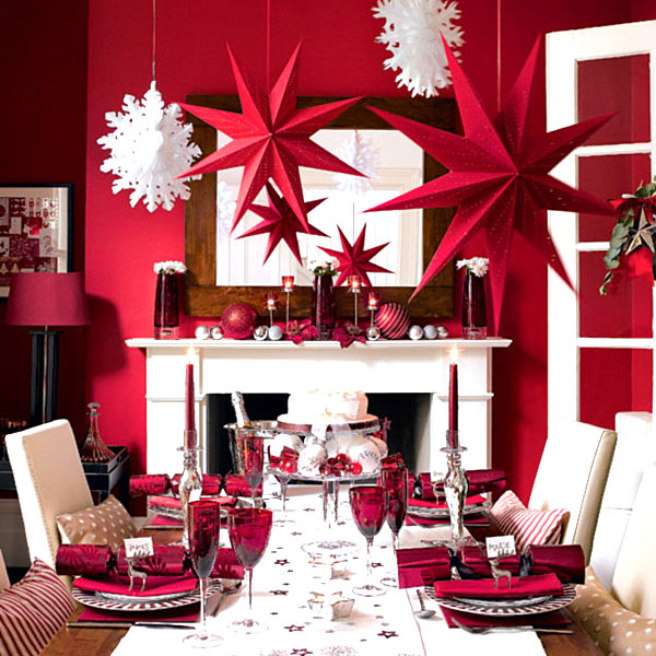 Modern red and white Christmas decor Modern Christmas Decorating Ideas for Your Interior