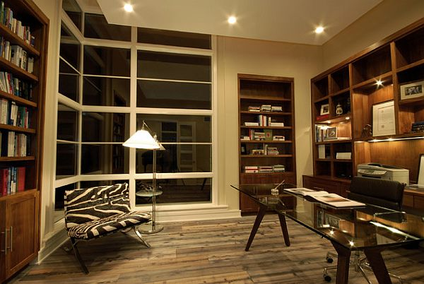 Modern style study room with recessed wooden bookshelves Sophisticated Home Study Design Ideas