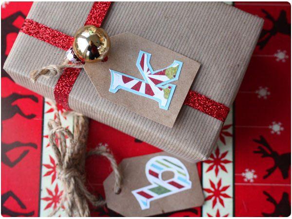 Monogram holiday gift tags