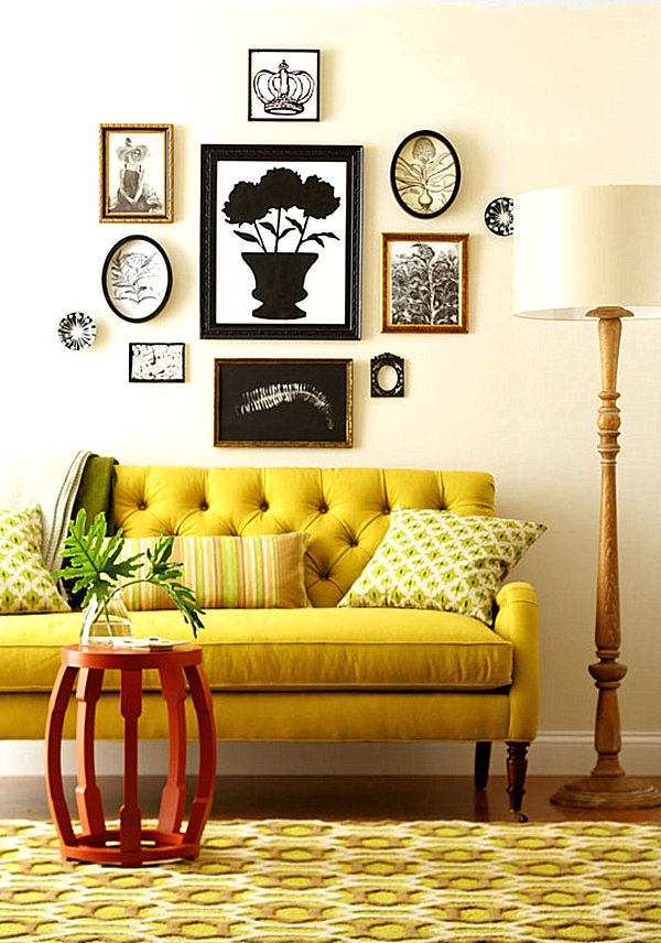 Mustard yellow seating in a living room