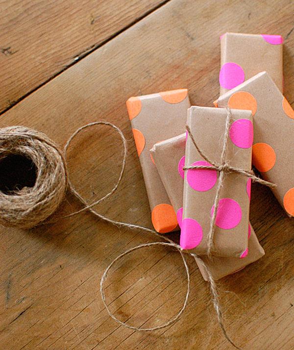 Neon dot gift wrap