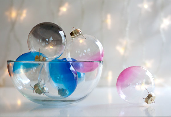 Ombre glass ornaments