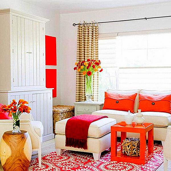 Orange and pink living room
