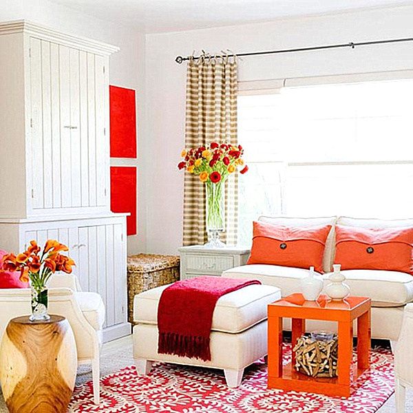 Vivid design top color trends for 2013 Orange and red living room design