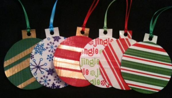 Ornaments for your Christmas tree created with duct tape