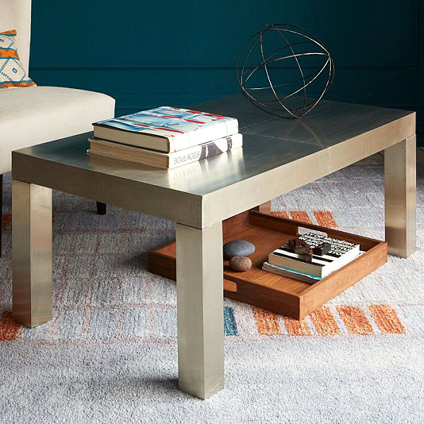Parsons metal coffee table