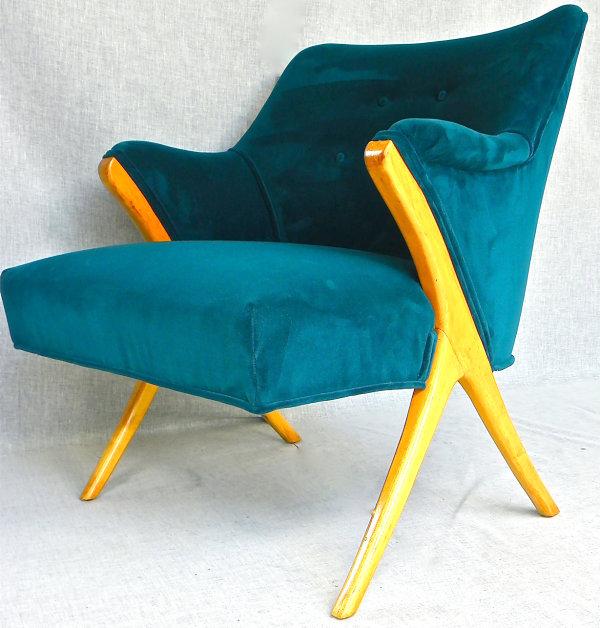 Peacock blue Mid-Century modern armchair