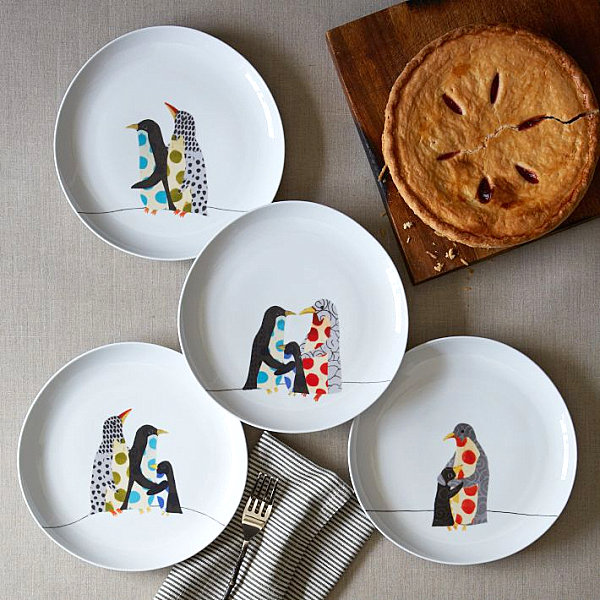 Penguin holiday plates