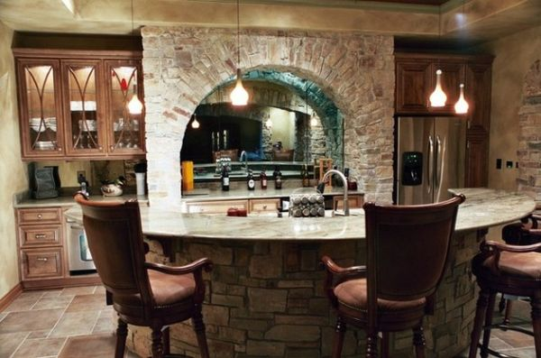 Perfect use of stone to create a classic home bar