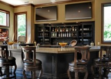 Exquisite Use Of Color And Decor Bring This Home Bar To Life