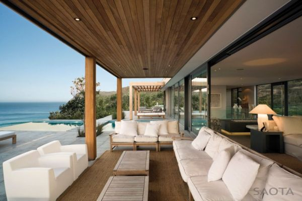 Plush seating and unabated views of the ocean at the residence