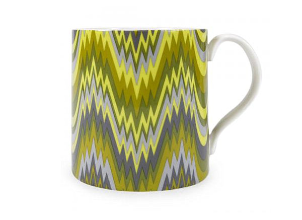 Porcelain mug in shades of green