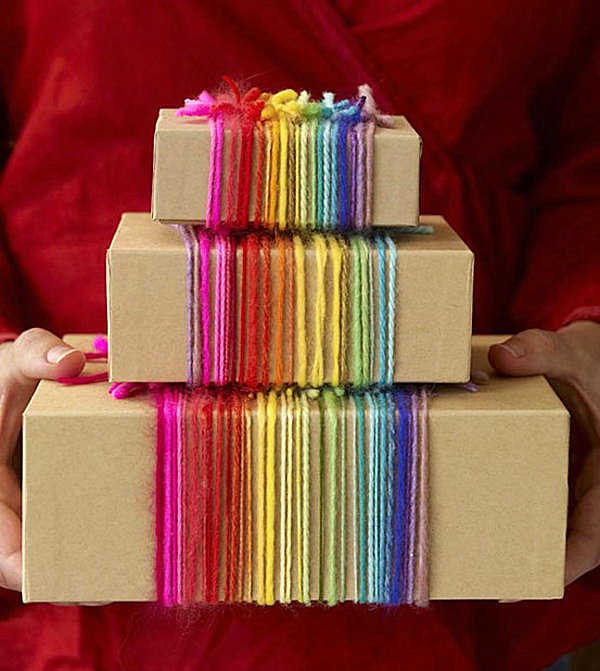 Rainbow yarn gift wrap idea monogrammed gift wrap ideas