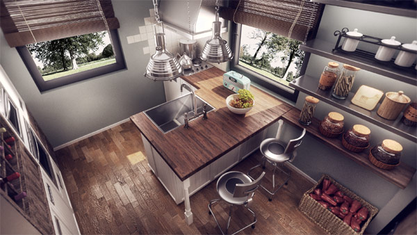 Ravishing wooden countertop highlighted by gorgeous pendant lights
