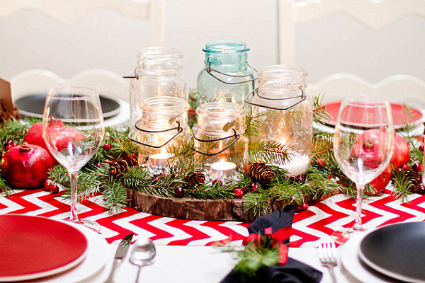 view in gallery red and white christmas table decor - Christmas Table Decorating