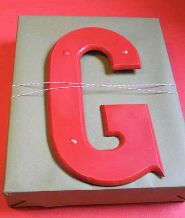 Red monogrammed gift wrap idea