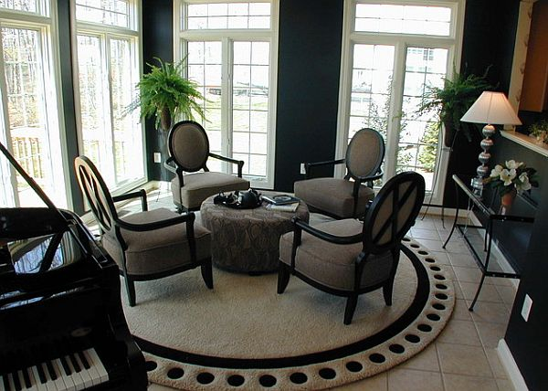 View In Gallery Beige Round Rug For The Dining Room