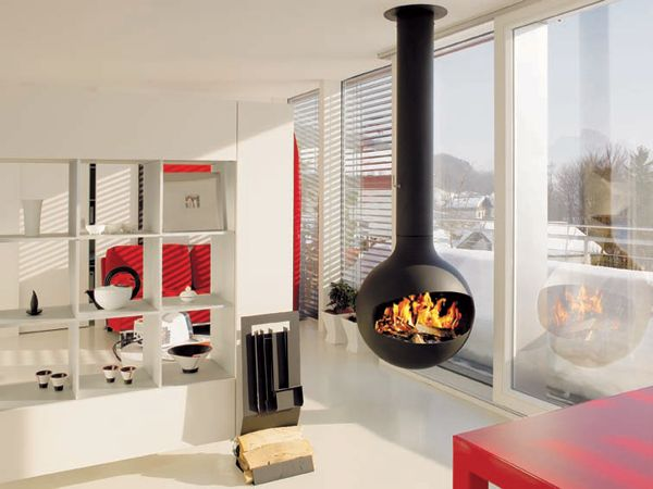 Scandinavian living room with suspended fireplace