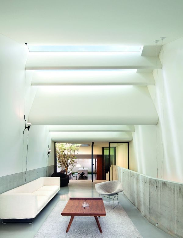Series of well placed skylights for the unusual hall