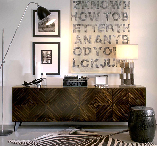 Sideboard with a diamond motif