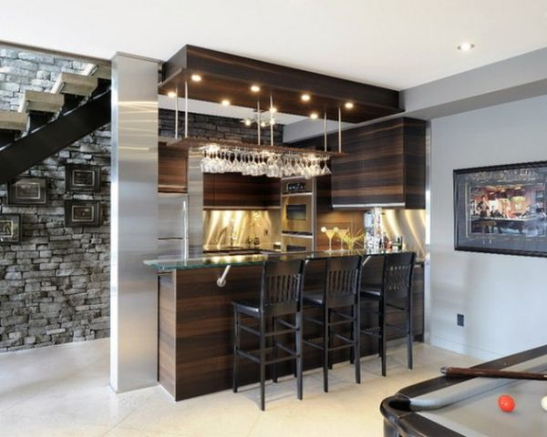 Simple Home Bar Design Placed Under The Staircase