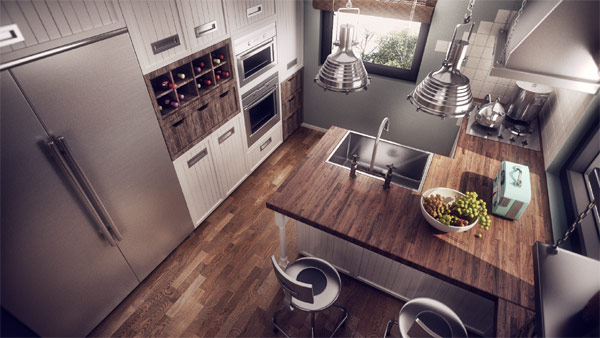 Sleek and compact shelves grace the kitchen space