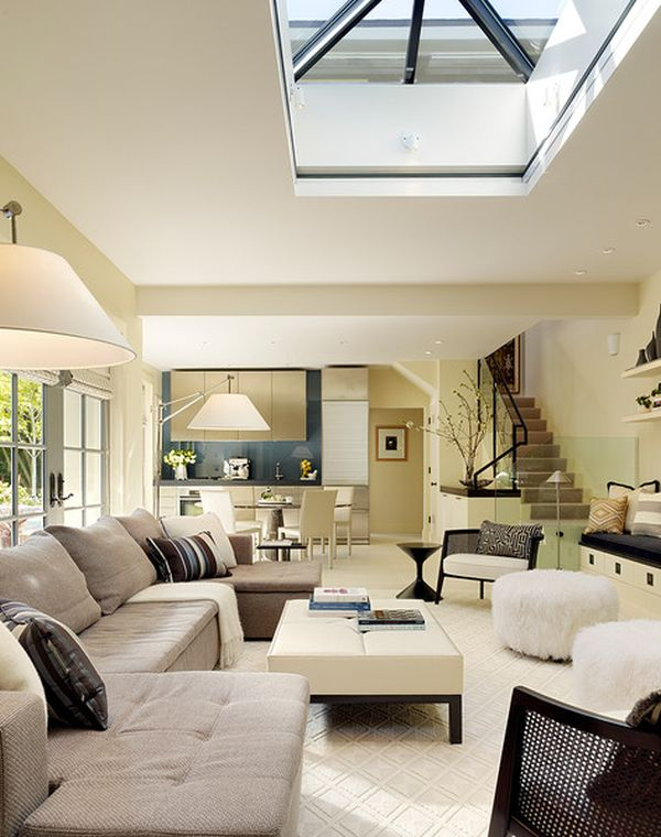 Wonderful Sleek And Stylish Modern Living Space With Central Skylight