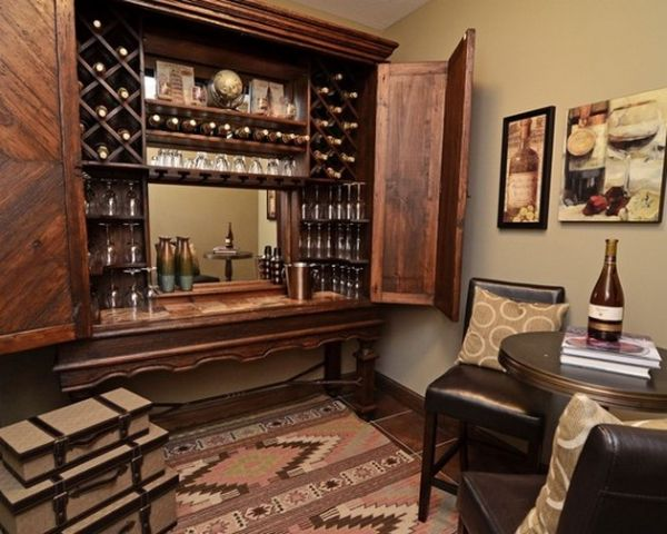 Space conscious home bar closes up into a cabinet