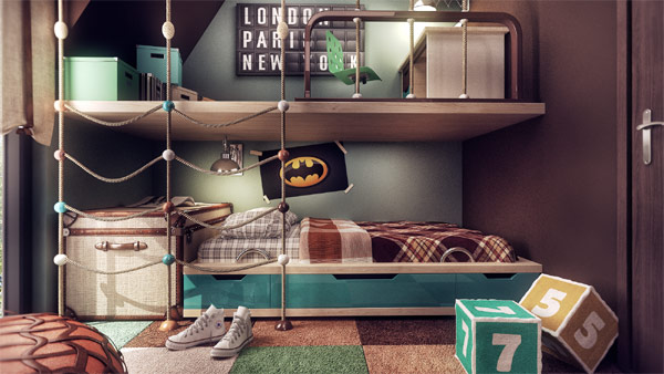 Space saving bunker beds for the kids room