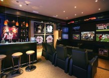 Sports themed home bar clubbed with the perfect entertainment center 217x155 40 Inspirational Home Bar Design Ideas For A Stylish Modern Home