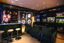Sports themed home bar clubbed with the perfect entertainment center 270x180 40 Inspirational Home Bar Design Ideas For A Stylish Modern Home