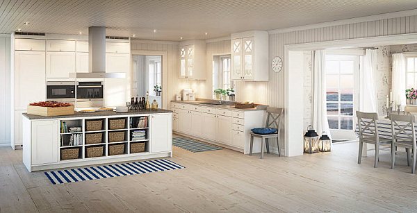 Striped rugs in a bright Scandinavian kitchen