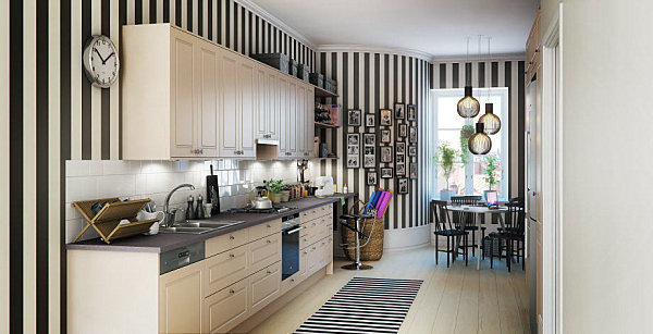 Stripes in a Scandinavian kitchen