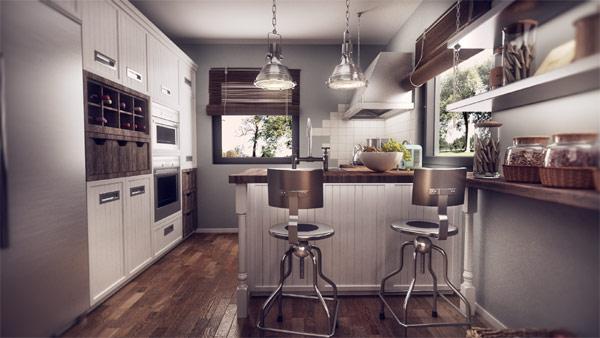 Modern romanian home design fuses vintage with for Modern vintage kitchen design