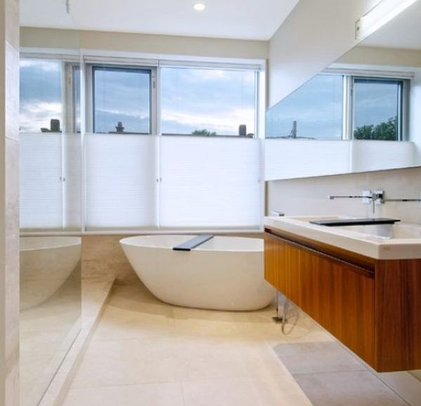 Stylish floating sink and cabinet set in a semi-minimalist setting