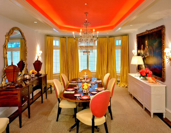 Tangerine orange dining room