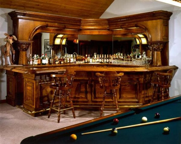 Traditional home bar design nestled in a corner decoist Residential bar design ideas