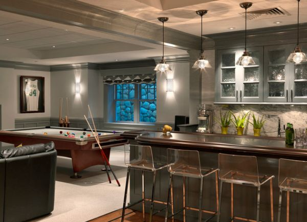 ... Transperant Vapor Bar Stools And Brilliant Lighting Help This Home Bar  Dazzle