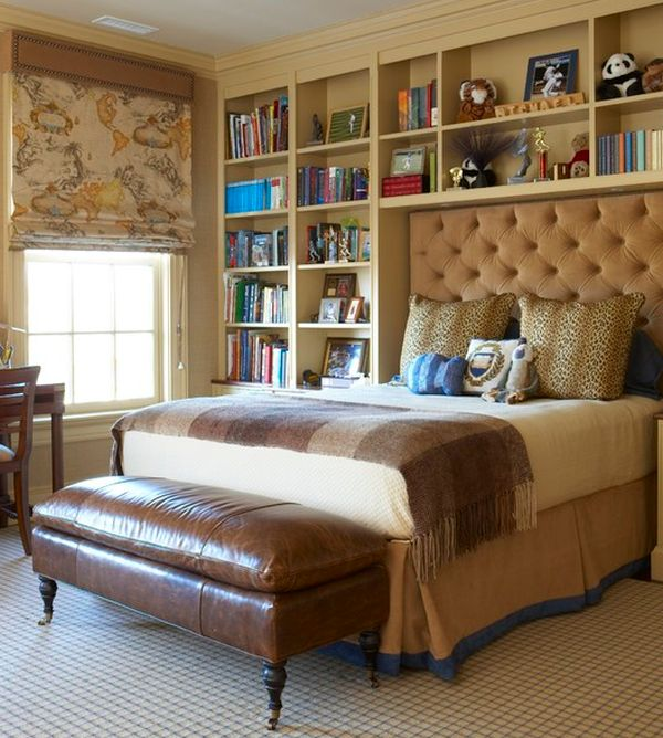 Tufted headboard in brown perfectly complements the bedroom